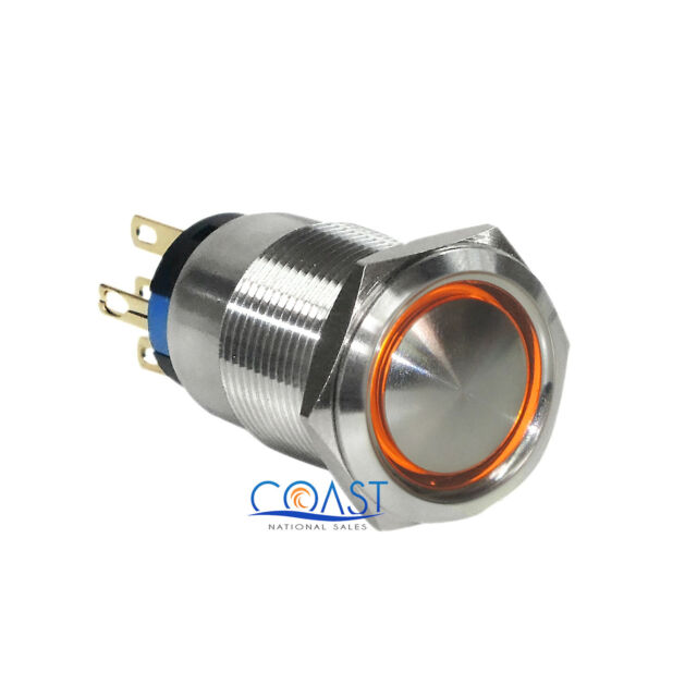 2X Durable 12V 19mm Car Momentary Push Button Blue Angel Eyes LED Domed Switch