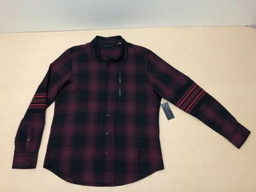 Sean John Shirt Mens Size Medium New w Tags NWT LS Business Plaid Polo Top