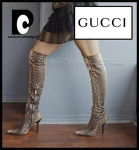 904e324e136 New Tom Ford for Gucci 1999 Collection Water Snake Over Knee Boots ...