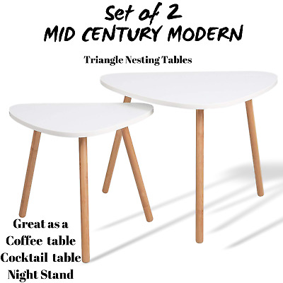 Mid Century Modern Triangle Nesting Coffee Cocktail Table Mcm