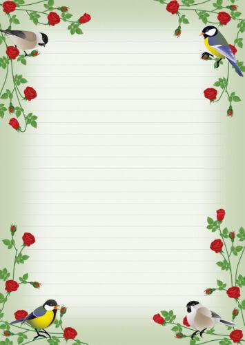 2 Schreibblöcke rote Rosen bunte Vögel A4 24 Blatt Briefpapier Block Briefblock
