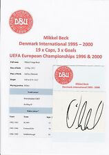 Mikkel Beck Dinamarca International 1995-2000 Original Corte firmada a mano