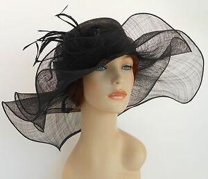 New Church Derby Wedding Sinamay 2 Layers Dress Hat S10-2213 Black