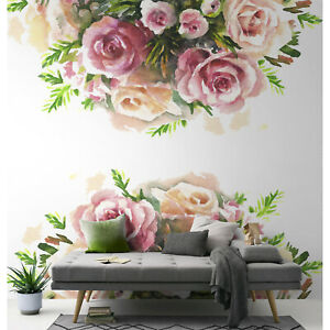 Watercolor-rose-removable-wallpaper-Wall-mural-Peel-and-stick-wall-art-Floral