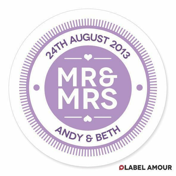 40 Personalised Wedding Favour Sticker Seals Labels | Mr and Mrs Names Date