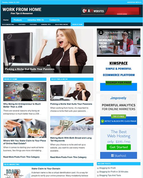 WORK FROM HOME Website Business For Sale - Work From Home Business Opportunity