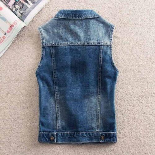 2019 UK Women/'s Denim Vest short Jeans Waist coat Cowboy Sleeveless blue Jacket