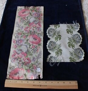 2-French-Antique-Victorian-Rose-Silk-Woven-Ribbons-16-034-L-X-6-034-W-8-034-L-X-6-034-W