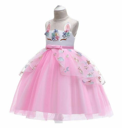 2020 Girls Unicorn Dress Up Costume w// Rainbow Headband Kids Fancy Party Outfit