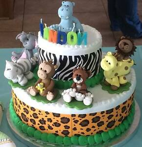 Image Is Loading Cake Topper Jungle Animals Baby Shower Or Birthday