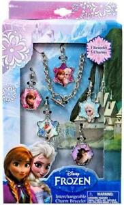 Charm Bracelet Set Disney Frozen Anna Elsa 5 Interchangable Princess Jewelry