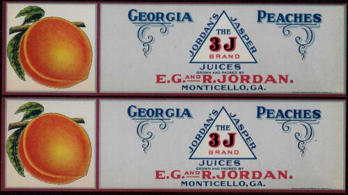 Monticello GA Jordan/'s 3J Brand Georgia Peaches Crate Labels Lot of 2 1920/'s