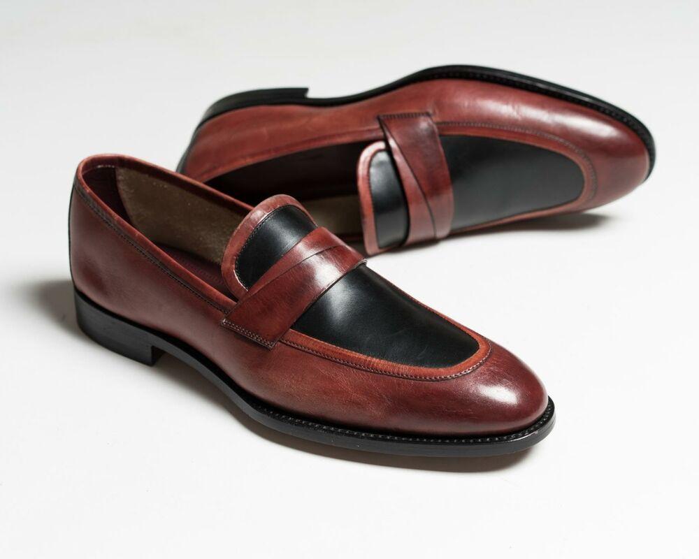 Kiton Nib Noir Marron Deux Ton 100% Mocassins Cuir Robe Chaussures 8 Us