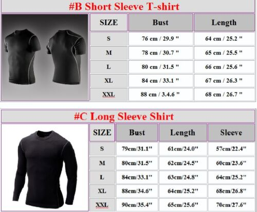 Mens Compression Base Layer Body Thermal Skin T-Shirt Tops Long Pants Shorts