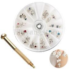 Nail Art Piercing Tip Hand Drill Hole Pierce Tool + 24 Pendant Dangle Decoration