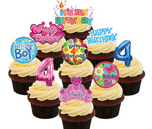 Image Is Loading 4th Birthday Boy Amp Girl Edible Cup Cake