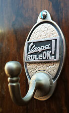Vespa Rule OK Key Hook / Coat Hook (EXCLUSIVE DESIGN) Pewter Scooter