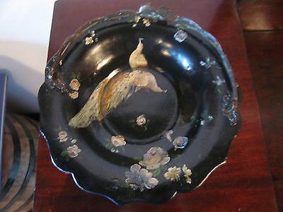 Antique Victorian Paper Mache Black Lacquer Bridal Basket Bird Floral Decoration