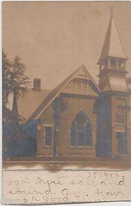 1906-GARRETTSVILLE-Ohio-Real-Photo-RPPC-Postcard-CONGREGATIONAL-CHURCH