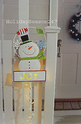 Snowman Lawn Stake 35 Lights Metal Sign Joy Holiday Merry ...