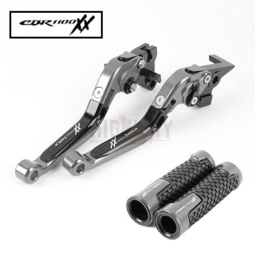 CNC Brake Clutch Levers with Handle Grips for Honda CBR1100XX BLACKBIRD 97-07