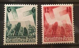 Germany 1936 3rd Reich  M i# 632-633 Sc. 479-480 MNH Nuremberg Congress **