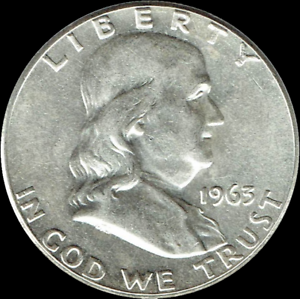 A-1963-D-Franklin-Half-Dollar-90-SILVER-US-Mint-034-Average-Circulation-034