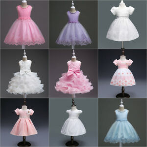 Flower-Girl-Kid-Toddler-Baby-Princess-Party-Pageant-Wedding-Tulle-Tutu-Dress-LOT