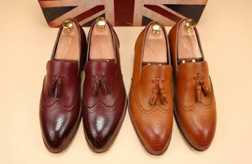 New Mens pointed toe Dress Formal slip on brogue tassels casual loafers shoes