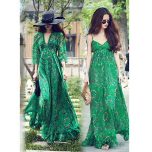 New-Women-Ladies-Chiffon-Boho-Long-Sleeve-Party-Evening-Cocktail-Prom-Maxi-Dress