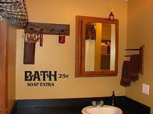 Bath Soap Extra Primitive Bathroom Decor Vinyl Wall Art Decal Removable Sticker Ebay