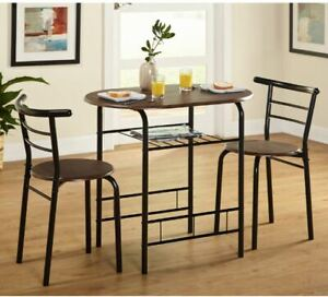 Details about Small Kitchen Table Set Chairs Breakfast Nook Dining Round  Space Shelf Bistro