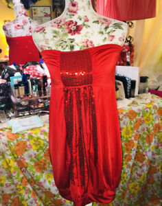 Red-sequin-mini-Dress