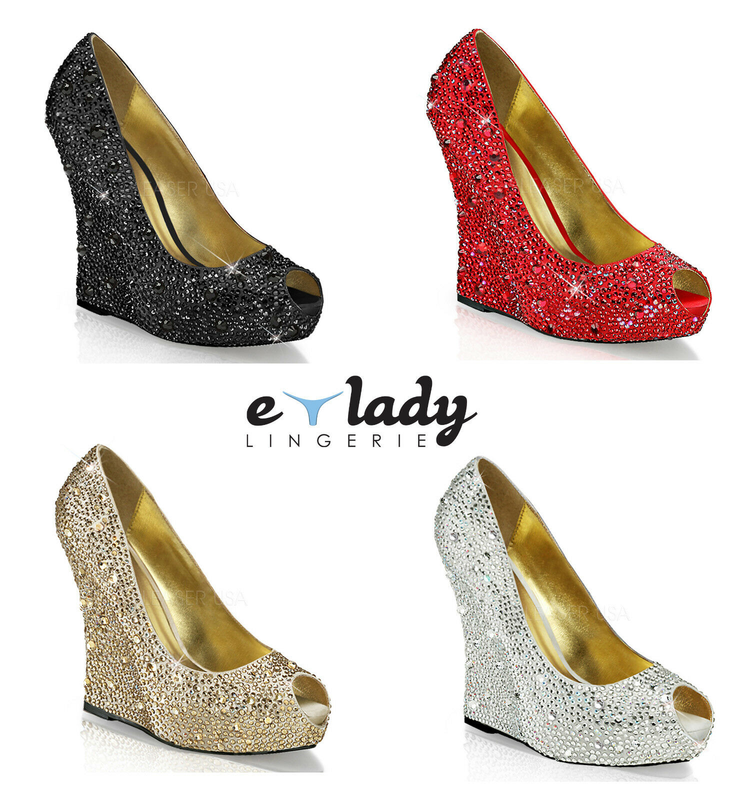 Pleaser Isabelle-18 Wedges schuhe Platform High Heels Peep Toes Diamantes Party