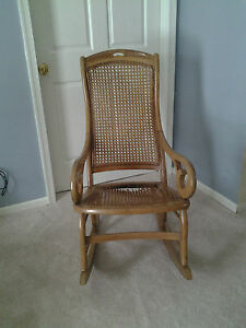 Image Is Loading Vintage Cane Rocking Chair
