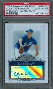 2006-Bowman-Sterling-Prospect-CLAYTON-KERSHAW-Rookie-Card-Auto-Dodgers-PSA-10