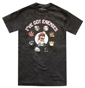 Nintendo-Mario-I-039-ve-Got-Enemies-Black-Men-039-s-T-Shirt-New