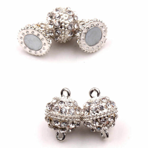 5//10X Gold Silver Plated Rhinestone Crystal Strong Magnetic Clasps Hooks 19x14MM