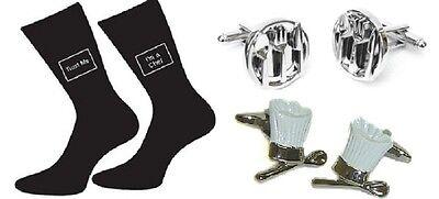 Chefs Gift Set : Chef Hat & Spoon + Cutlery Cufflinks + Chef Trust Me Mens Socks