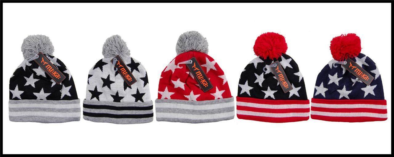 NEW Mens MuKa Winter American Sports Pom-Pom Beanie USA American Winter Flag Stars And Stripes bb7933
