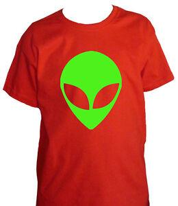 Fm10 T-shirt Bambino Alieno Ufo Stampa Verde Fluo Divertente Mitiche Fabrication Habile