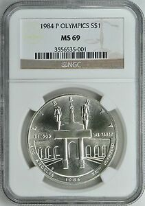 1984-P-OLYMPICS-SILVER-1-COMMEMORATIVE-NGC-MS69