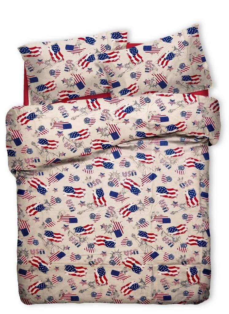 BETTBEZUG 1 1 2 QUEENGröße FLAGGE AMERIKANISCH AMERIKA USA US VERBUNDENE