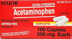 Major Acetaminophen 500 mg (Compare to Extra Strength Tylenol) 100 Caplets