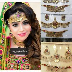 Handmade-Afghan-Kuchi-Tribal-Necklace-Earrings-Jewelry-Mathapatti-set-Headpiece