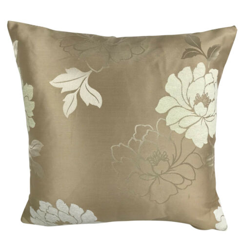"""FILLED CUSHION 17X17/"""" Satin Gold with Cream Flowers CUSHION COVERS"""