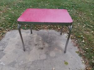 Red Kitchen Table Mid Century Antique