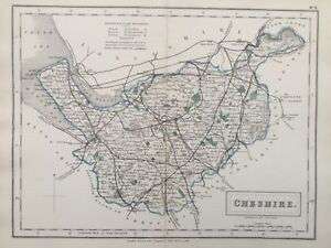 1875 Antique Map Cheshire From Hall S Travelling Atlas Of