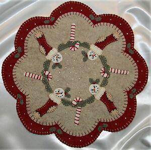 image is loading primitive wool felt candle mat penny rug kit - Primitive Christmas Stockings