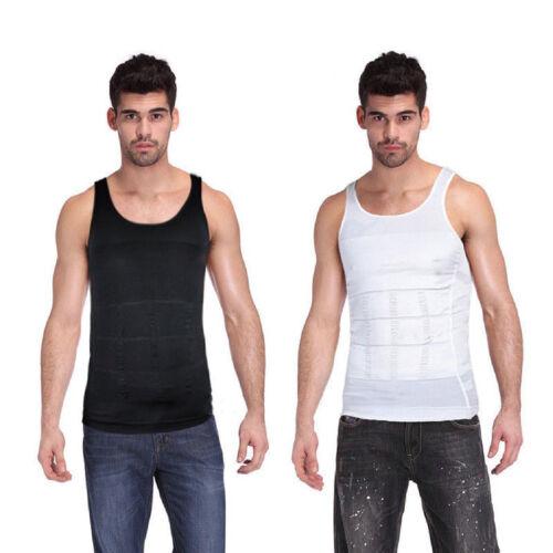 Da Uomo Body Shaper Gilet Bianco Addome vita compressione Biancheria intima Camicia S-XXL